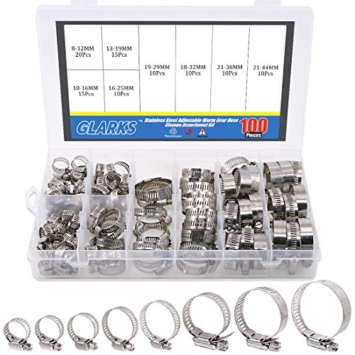Steel Stainless Worm - Glarks 100Pcs Adjustable 8-44mm Range 304 Stainless Steel Worm Gear Hose Clamps Assortment Kit, Fuel Line Clamp for Water Pipe, Plumbing, Automotive and Mechanical Application (Hose Clamp Kit)