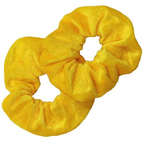 (Kenz Laurenz Scrunchies for Hair - 2 Velvet Hair Ties for Women Girls Hair Elastics Ponytail Holder Scrunchy Girl Accessories Elastic Hair Bands Scrunchie Pack (Yellow))