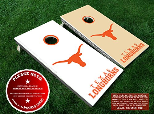 Texas Longhorns Fans Cornhole Board Decal Kit - ORANGE - 6PC Set Fit for Bean Bag Toss Outdoor Game Sticker Set - Die Cut DIY Game Board Stickers - DECALS ONLY