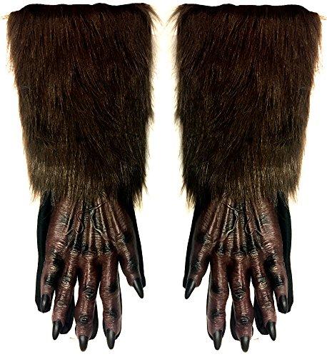 Fun World Unisex Werewolf Hands Adult Gloves, brown,