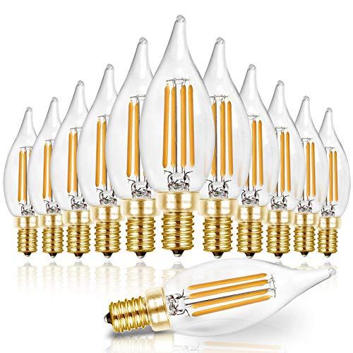 Hizashi 90+ CRI LED Candelabra Bulb Flame Tip 40W Equivalent Dimmable E12 Filament Candle Bulbs 4W, 450 Lumens, 2700K Warm White CA10 LED Chandelier Light Bulbs, UL Listed - 12 Pack