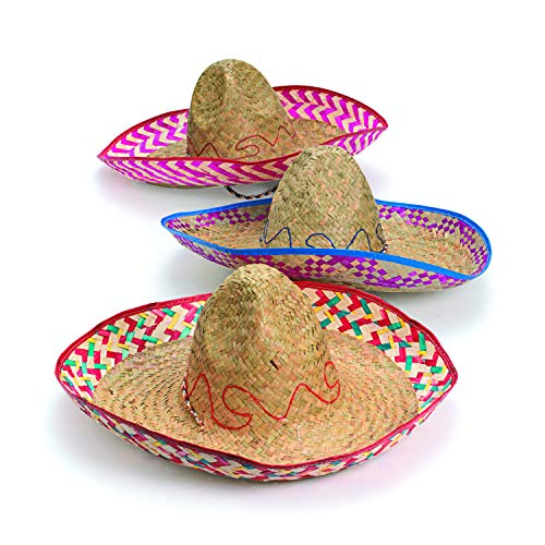 Adults Embroidered Woven Straw Sombreros (12 Pack)