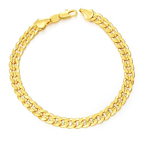 SWOPAN 18K Gold Plated 6MM Wide 8.3inch Curb Cuban Chain Link Bracelet Men Women 21CM Long Classic Hip Hop Punk Fashion Jewelry 18K Stamp, (Hip Hop Chain Bracelet)