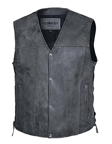 Motorcycle Unik - UNIK Mens Motorcycle Riding Club Side LACE Distressed Grey Leather 2 Gun Pocket Vest(Regular 5XL)