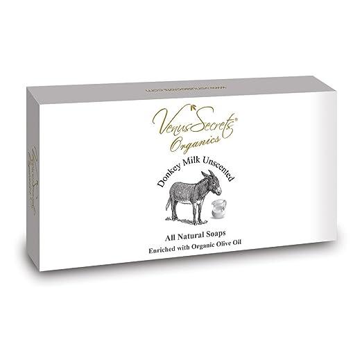 Venus Secrets - Pastilla de jabón natural con leche de burra y aceite de oliva ecológico, juego lujoso para regalo, paquete de 3 pastillas, ...