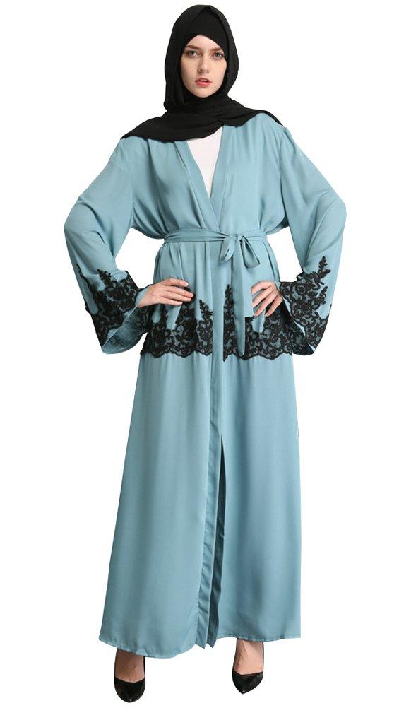 YI HENG MEI Women's Elegant Long Sleeve maxi with Fashionabl Embroidery Muslim Islamic Open Front Abaya Coat ,Green,XXL