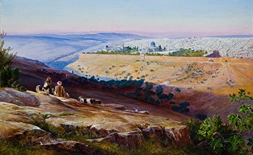 Famous Characters With Beards (Edward Lear Giclee Canvas Print Paintings Poster Reproduction(Jerusalem from the Mount of Olives))