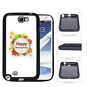 Happy Thanksgiving Green Circle With Autumn Leaves Samsung Galaxy Note II 2 N7100 Rubber Silicone TPU Cell Phone Case Kimberly Kurzendoerfer