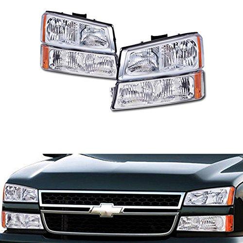 VXMOTOR 2003-2007 Chevy Silverado 1500 2500 3500 Chrome Crystal Euro Sport Head Lights Headlight + Bumper Corner Signal Light Lamp Amber NB (Chrome Euro Corner Lights)