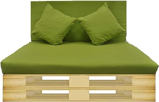 Gbla Colchon y Respaldo de Espuma para Sofá de Palet Enfundado en Tejido - Ideal para Jardín, Terraza, Patio, Salón y Balcón (Verde Manzana): Amazon.es: Jardín