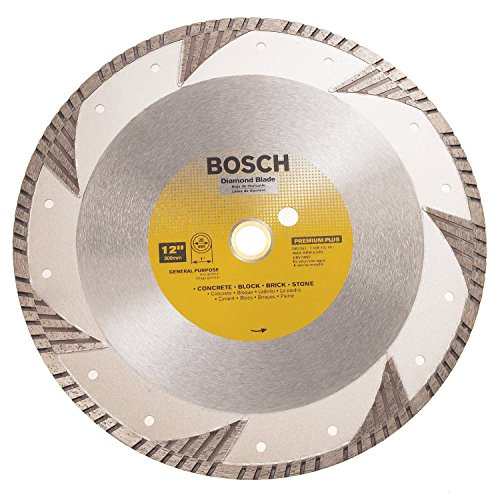 - Bosch DB1263 Premium Plus 12-Inch Dry or Wet Cutting Turbo Continuous Rim Diamond Saw Blade with 1-Inch Arbor for Masonry