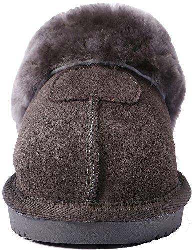 Slippers Suede sheepskin Shearling Women's lite U For Women Wool Slipper Cozy House Winter Warm Grey Suede A1RAnvq