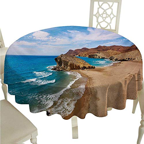 Iridescent cloud Landscape Flow Spillproof Fabric Tablecloth Ocean View Tranquil Beach Cabo De Gata Spain Coastal Photo Scenic Summer Scenery Great for Buffet Table D54 Blue Brown