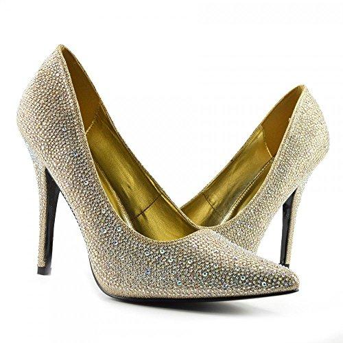 (BS12924) - New Mens Womens Drag Queen Cross Dresser HIGH Heel Pointy Toe Court Shoes Big Sizes UK 9,10,11,12 924 - Gold Glitter