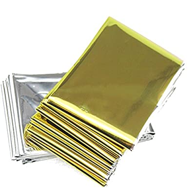 Emergency Mylar Survival Blankets Reflective Thermal Blanket Silver Gold (Pack of 5)