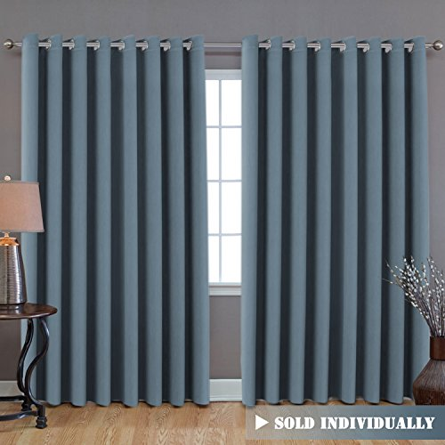"H.VERSAILTEX H.VERSAILTEX Premium Room Divider (Nobody Can See Through, 9' Tall x 8.5' Wide), Blackout Curtain Panels, Extra Long and Wide Thermal Insulated Patio Curtains -100"" W by 108"" L- Stone Blue price tips cheap"