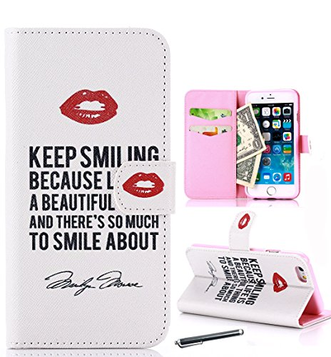 For iphone 6 Case , Zi&p® Well Designed Lips Pattern Premium PU Leather + Wallet with Built-in Media Bracket / ID Credit Card and Cash Slots, Flip With Magnetic Closure Cover Case For iphone6 (Lips)