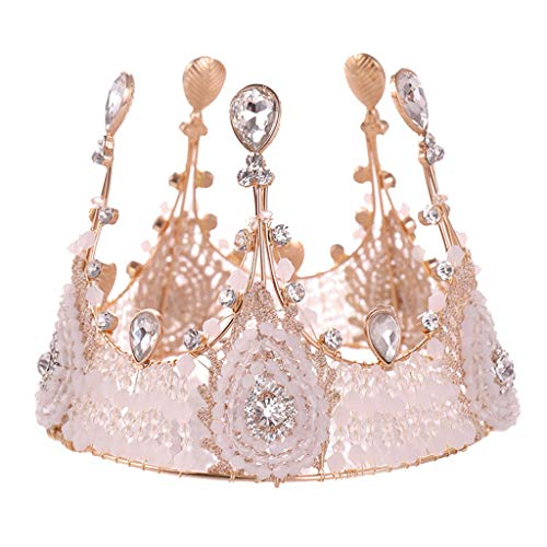 (Topgee Luxurious and Elegant Crown Full of Crescent Shaped Headwear Ladies Jewelry Wedding Tiara Pearl Jewelry Shiny Bridal Crown Tiara Hair Jewelry for Women Lady)