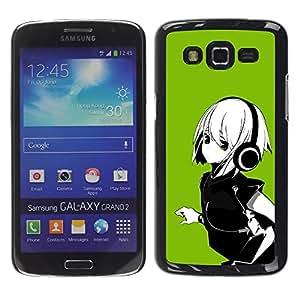 TopCaseStore / la caja del caucho duro de la cubierta de protección de la piel - Green Anime Girl - Samsung Galaxy Grand 2 SM-G7102 SM-G7105