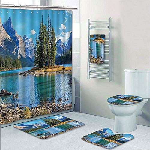 Bathroom Fashion 5 Piece Set Shower Curtain 3D Print,Lakehouse Decor,Scenery of Spirit Island in Maligne Lake Canada in a Summer Time Covered with High Mountains,Bath Mat,Bathroom Carpet Rug,Non-Slip