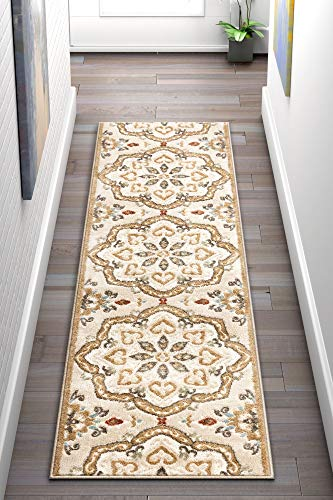 - Well Woven Dolly Cream/Beige Traditional Floral Medallion Pattern Runner Rug 2x7 (2' x 7'3