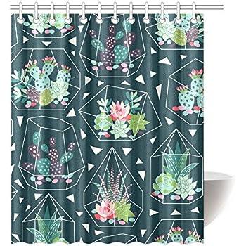 Unique Debora Custom Bath Decorator Bathroom Accessories Shower Curtain For Seamless Pattern With Succulents