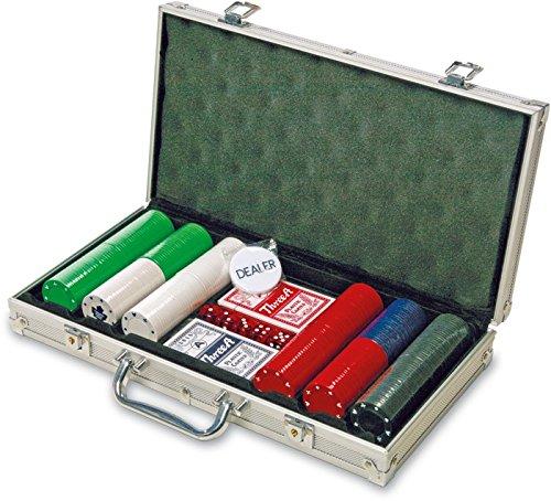 Set de Poker dans un coffret en aluminium avec 2decks Cartes à jouer, poker Dés et Dealer puce poker Dés et Dealer puce Legeler