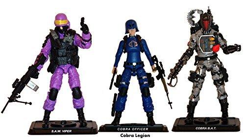 G.I. Joe, 50th Anniversary, Cobra Legion Exclusive Action Figure Set (SAW Viper, Cobra BAT, and Cobra Officer), 3.75 Inches -