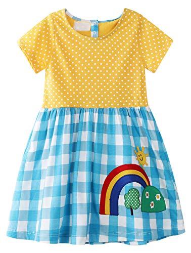 BTGIXSF Little Girls Cotton Dress Short Sleeves Casual Cartoon Dresses Toddler Summer Skirt Dresses 206 7T Rainbow