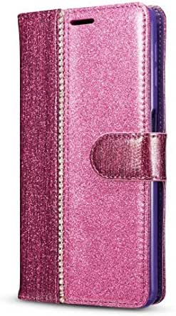 iPhone 11 2019 Case, Premium Shockproof Bling Glitter PU Leather Flip Notebook Wallet Cover with Magnetic Closure Stand Card Holders Soft TPU Bumper Slim Fit Protective Skin Pink