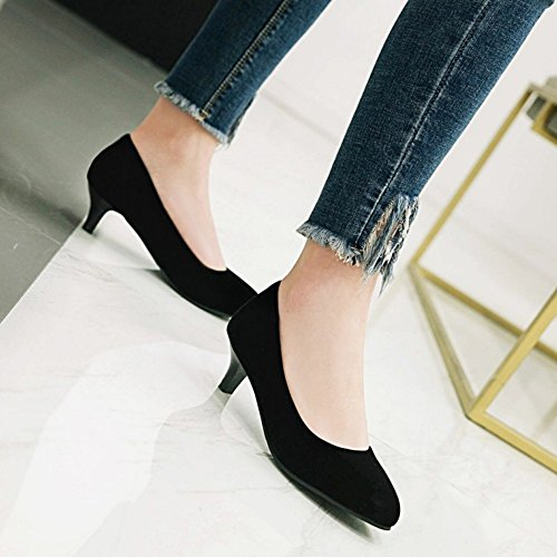 TAOFFEN Women's Fashion High Heel Court Shoes 4cm Black pHJ4iA7tKH