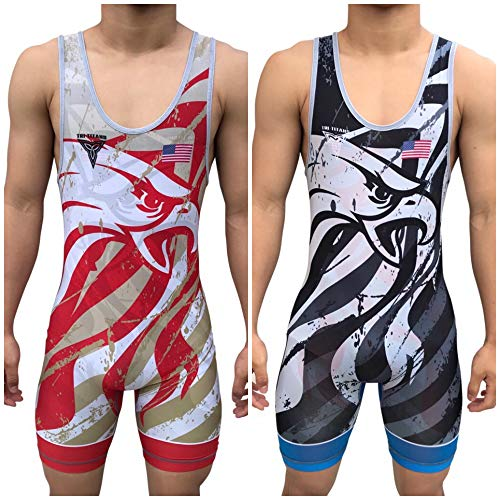 TRI-TITANS Eagle Eye Reversible UWW Wrestling Singlet - Freestyle Greco Roman Folkstyle - Red and Blue Mens & Youths (Youth XL: 75lbs-100lbs) ()