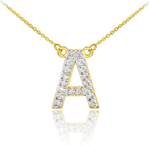 14K Yellow Gold Heart Initial Letter Pendant Singapore Chain Necklace Set A-Z