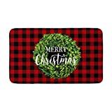 AVOIN Buffalo Plaid Merry Christmas Boxwood Wreath Decorative Doormat, 18 x 30 Inch Winter Holiday Non-Skid Floor Mat Switch Mat Indoor Outdoor Home Garden