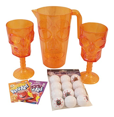 4 pc Orange Skull Pitcher, Glasses and Witch's Brew Bundle includes: 1 Plastic Skull Pitcher, 2- Skull Plastic Glasses, 2- Drink Mixes and Recipe for Kid's Witch's Brew, 12 Plastic (Drink Recipes For Halloween)