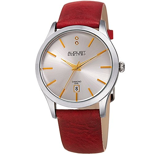 August Steiner Women's Quartz Stainless Steel and Leather Casual Watch, Color:Red (Model: AS8233SSRD)