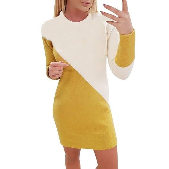 Faldas Largas Mujer, Zolimx Moda Mujeres Casual Patchwork O-Cuello Color Bloque Suéter de Punto Pulloved Vestidos de Fiesta Mujer: Amazon.es: Ropa y ...