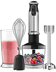 BREVO Immersion Hand Blender 300W High Power Variable Speed Control 4-in-1 Multifunctional Food Processor Smoothies Maker with Beaker, Chopper, Whisk