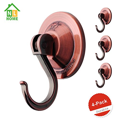 4-Pack Power Lock Portable Suction Cup Hooks,Coppery,by NL Home? by NL HOME