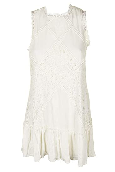 30a0a591e Image Unavailable. Image not available for. Color: American Rag Juniors  Ivory Sleeveless Lace Inset Mock-Neck Shift Dress S