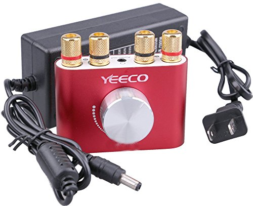 30 Watt Bass Amplifier - Yeeco Mini Bluetooth Power Amplifier Wireless Audio Receiver with 12V 5A DC Adapter, Stereo Hi-Fi Digital Amp 2 Channel 30W 2 with AUX/USB/Bluetooth Input, Amplifier+Adapter, Red