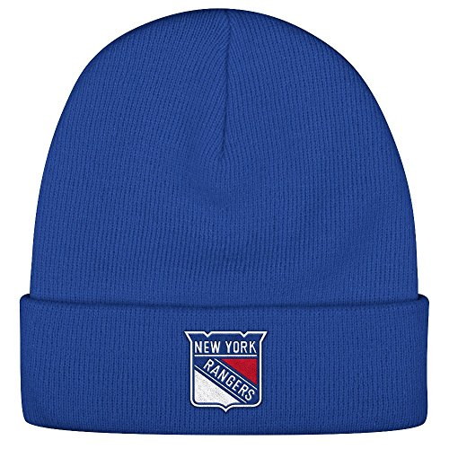 New York Rangers Reebok NHL Basics Cuffed Knit Hat - Blue (New York Rangers Hat Reebok)