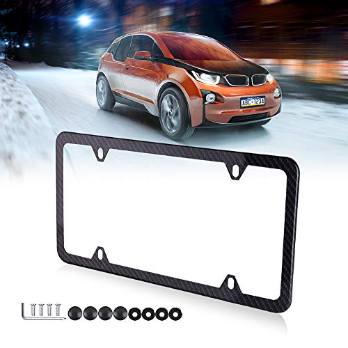 (cciyu License Plates Frames Carbon Fiber Style for Front Rear Car Bottom License Plate Frames 1Pcs 4 Holes Black Licenses Plate Covers for US Vehicles)