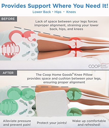 Coop Home Goods Adjustable Memory Foam Knee Pillow - Perfect for Side or Back Sleepers, Pregnancy, Relief for Sciatic Pain - Orthopedic Support Washable Case
