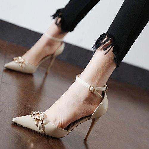Xue Qiqi Court Court Court Schuhe Die hohle Geschlitzte Tipp für Damenschuhe elegante Ketten aus Metall mit einem einzigen weiblichen Schuhe mit hohen Absätzen B07DKB427Q Tanzschuhe Günstige Bestellung fbd725