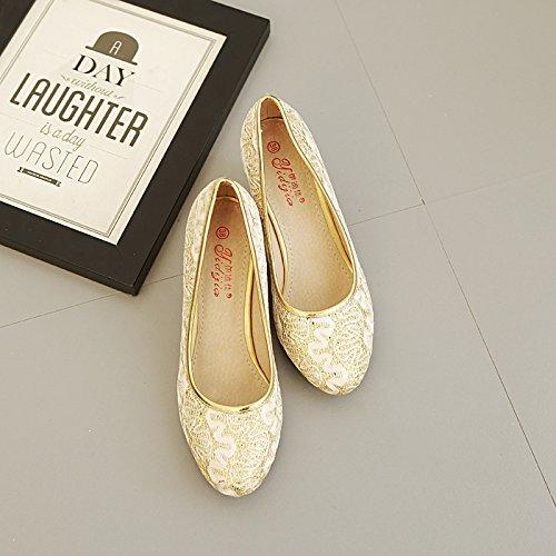 Gold cabeza zapato Zapatos boda Xue baja alto bandera con encaje de de de tacón redonda alto The tacón gruesos de zapato chino con Qiqi banquete Sz1zY