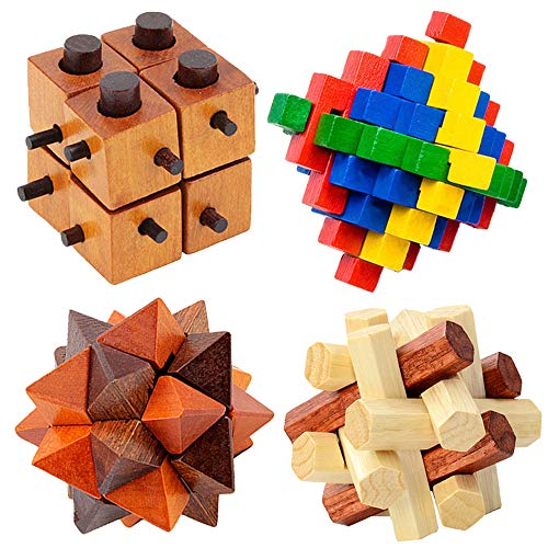 GRACEON DIY 3D Wooden Puzzle Toys Kong Ming Luban Lock Toys Assembling Ball Cube Challenge IQ Brain Wood Toys Games Kids Education Toys ()