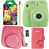 Fujifilm Instax Mini 9 Instant Camera - Lime Green, FujiFilm Instant Mini Rainbow Film, Fujifilm Instax Groovy Camera Case - Raspberry and Fujifilm INSTAX Wallet Album Raspberry