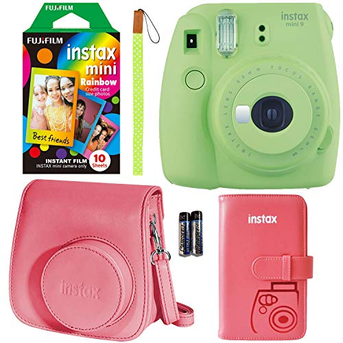 Fujifilm Instax Mini 9 Instant Camera – Lime Green, FujiFilm Instant Mini Rainbow Film, Fujifilm Instax Groovy Camera Case – Raspberry and Fujifilm INSTAX Wallet Album Raspberry