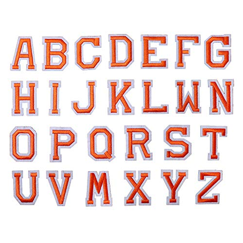 AXEN Iron on Sew on Letter Patches for Clothes, 26pcs Alphabet A to Z, Classic Orange